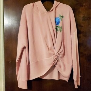 Live Love Dream | Pink Flower Faux Knot Hoodie XXL